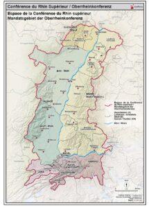 Karte mit Grenzverläufen zwischen Deutschland, Frankreich und der Schweiz.