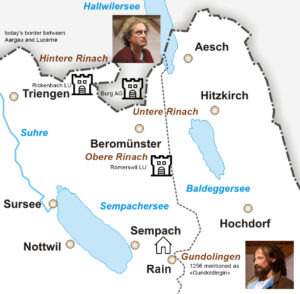 The three ancestral castles of the house of Reinach in the area of Beromünster
