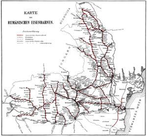 Karte der Rumänischen Eisenbahnen, 1912.