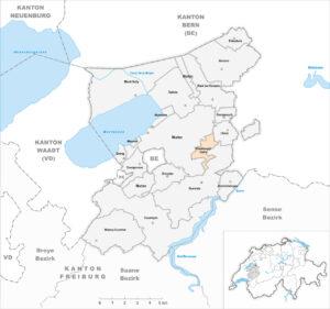 Lage des Staatswaldes Galm zwischen den Gemeinden Murten, Gurmels und Ulmitz.