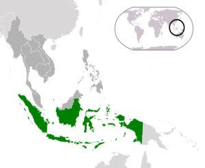 Karte des heutigen Indonesiens. Aceh liegt am östlichen Ende des Malaiischen Archipels an der nordöstlichen Spitze Sumatras.