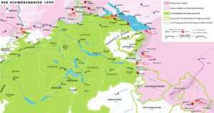 Gebiet und Schauplätze des Schwabenkriegs.