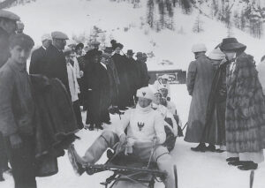 German Crown Prince Wilhelm of Prussia with his bobsleigh 'Roter Adler' (Red Eagle) in St Moritz in 1911.