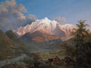 Pierre-Louis De la Rive, Le Mont-Blanc vu de Sallanches au coucher du soleil, 1802.