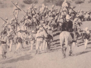 Foreign legionnaires marching in Algeria. Postcard dating from 1905.