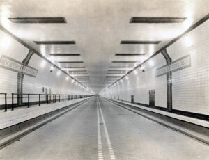 Inside the tube of the Lincoln Tunnel in New York, completed in 1937.