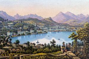 Lugano et le lac, entre 1850 et 1900.