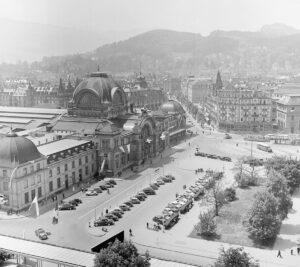 Lucerne railway station, opened on 1 November 1896, pictured before the fire.