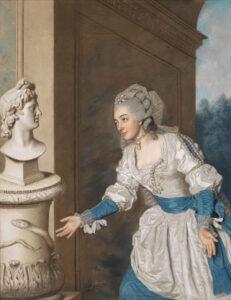 «Madame de Vermenoux huldigt Apollo», Gemälde von Jean Etienne Liotard, 1764.