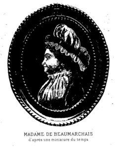 Portrait de Madame de Beaumarchais d'après une miniature du XVIIIe siècle.