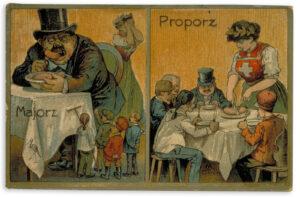 Propagandapostkarte für die Einführung des Proporzwahlsystems, um 1910.