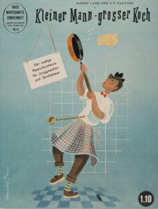 Petit homme, grand cuisinier, supplément spécial sur les tâches ménagères, illustration de couverture de Donald Brun, décembre 1950.