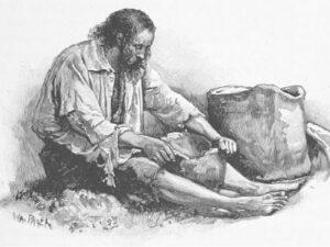 Le premier homme au foyer: Robinson Crusoé, représenté par Walter Paget en 1896.