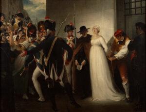 Nach Jean-Nicolas Paches Unterschrift unter das Anklageprotokoll wird Marie-Antoinette am 16. Oktober 1793 zur Hinrichtung abgeführt. Gemälde von William Hamilton, 1794.