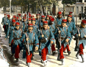 French soldiers in August 1914. The French uniform of 1914 took no account of how modern warfare was conducted.