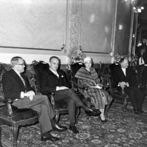 Prince Rainer III of Monaco and Grace Kelly visited Switzerland in 1960. On the left is President of the Swiss Confederation Max Petitpierre.