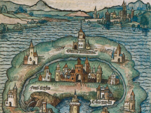 The island of Utopia in a colourised excerpt from the first edition dating from 1516.