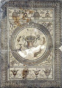 Zentrales Medaillon des Gladiatorenmosaiks von Augusta Raurica.