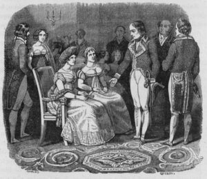 Napoleon Bonaparte in conversation with Madame de Stael during a reception in Paris, drawing by Nicolas-Toussaint Charlet (1792-1845).