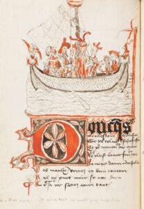 Seite eines Gedichtmanuskripts von Otto von Grandson, Les reponses de cent Balades, um 1430.