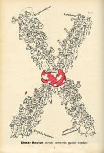 Caricature « Ce noeud pourrait être défait » dans Nebelspalter, 1936.