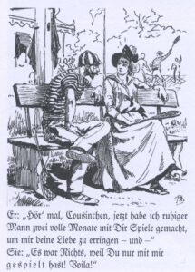Caricature on the flirtatious sport of tennis in the Nebelspalter, 1888.