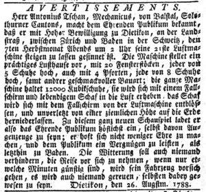 Annonce publiée par les frères Tschann dans la NZZ, en 1788.