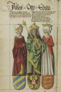 Otto und seine Ehefrauen Edgitha und Adelheid (links). Abbildung im Sächsischen Stammbuch von 1576.