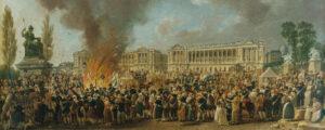 «La fête de l'Unité», sur la place de la Révolution à Paris, vers 1793. Peinture de Pierre-Antoine Demachy (extrait).