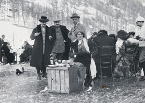 The upper crust turned these bobsleigh events into real occasions. Here, a group picnics on the frozen lake in St Moritz.