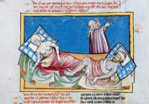 Darstellung von zwei Pestkranken in der Toggenburger Bibel von 1411.