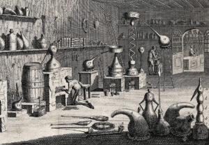 Voilà à quoi cela aurait pu ressembler chez Paracelse et le laboratoire de son père: Laboratoire pharmaceutique au fond d'un magasin.