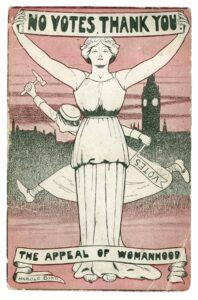 Carte postale de la National League for Opposing Woman Suffrage, Londres, 1912