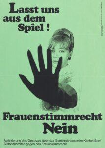 Affiche contre l'introduction du droit de vote aux femmes dans certaines communes du Canton de Berne, 1968.