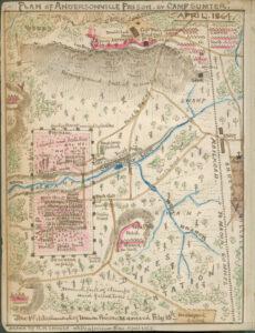 Plan du camp de prisonniers d'Andersonville près de Fort Sumter en avril 1864.