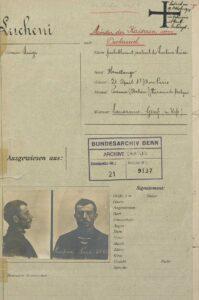 Cover sheet of Luigi Lucheni's police file.
