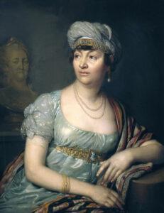 Portrait of Germaine de Staël around 1812. Painting by Wladimir Lukitsch Borowikowski.