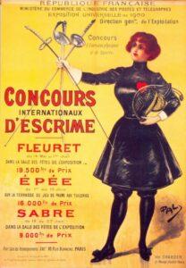 Plakat, das im Nachgang als offizielles Plakat der Olympischen Spiele 1900 anerkannt wurde.