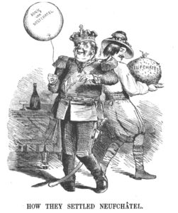 Caricature in the English magazine 'Punch' (6 June 1857). While the Swiss sneak off with the juicy spoils, the inebriated King is left with nothing but a celebratory balloon.