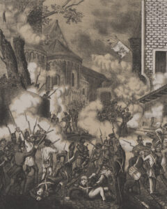 Graphic print, probably made in 1856, of the royalist coup in Neuchâtel.