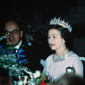 Federal Councillor Kurt Furgler and the Queen at the gala dinner in Bern, 1980.