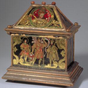 Reliquienkästchen bemalt mit verschiedenen Heiligen, darunter Sigismund (rechts), ca. 1590.