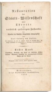 Restauration der Staats-Wissenschaft, 1816.