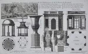 Plate Différentes Décorations de Romainville de l'Ordonnance de M. le Baron de Besenval, from: Georges-Louis Le Rouge, Jardins anglo-chinois, 9e cahier, 1781.