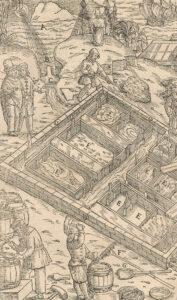 Salzgewinnung durch Verdunstung von Meerwasser, aus «Georgius Agricola: De re metallica libri XII», 1566.