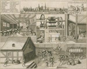 Darstellung der Salzproduktion in der Saline Halle (Sachsen-Anhalt), Kupferstich um 1670.