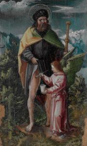 Altarbild aus dem frühen 16. Jahrhundert. Darauf hat Maler Hans Leu der Jüngere Sankt Rochus, den Schutzheiligen der Pestkranken, dargestellt.