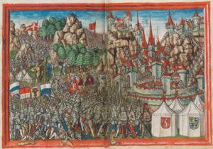 Bataille d'Arbedo en 1422, au cours de laquelle les Milanais ont repris Bellinzone aux Confédérés. À droite, les trois châteaux, à gauche les armoiries des Confédérés et au centre et sur les tentes, celles des Milanais.