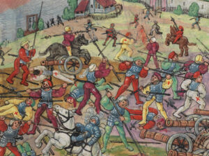 The battle at Schwaderloh on April 11, 1499 (detail).