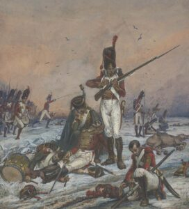 A Swiss regiment in action. Painting by Karl Jauslin, 1887.